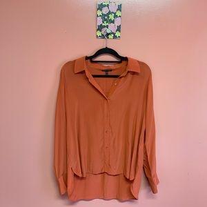Eileen Fisher 100% silk button down blouse top